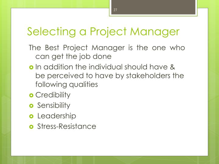 Selecting a Project Manager