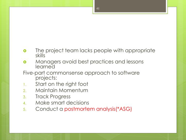 The project team lacks people with appropriate skills