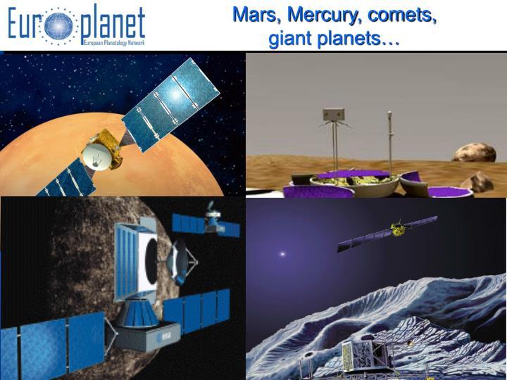 Mars, Mercury, comets,
