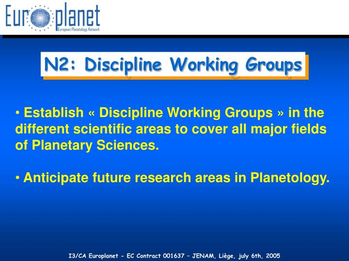 N2: Discipline Working Groups