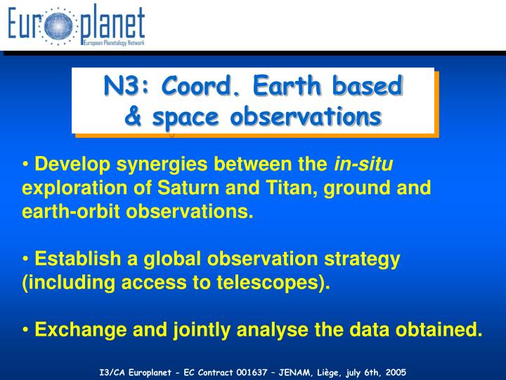 N3: Coord. Earth based