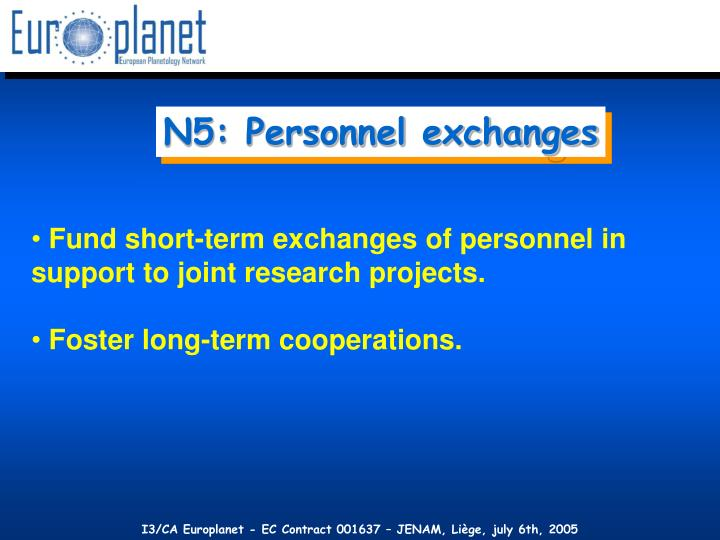 N5: Personnel exchanges