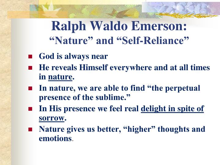 ralph waldo emerson essay nature summary Reflection on emerson's nature ralph waldo emerson's nature is a series of eight essays that touch upon a variety of thoughts on nature in writings on nature, commodity, beauty, language, discipline, idealism, spirit and prospects.