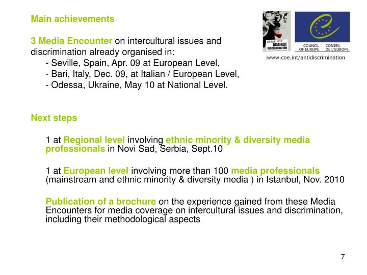 Main achievements