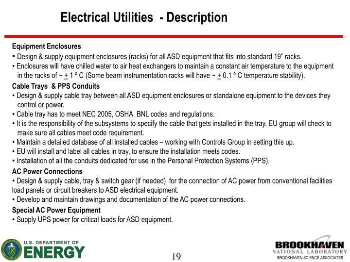 Electrical Utilities  - Description