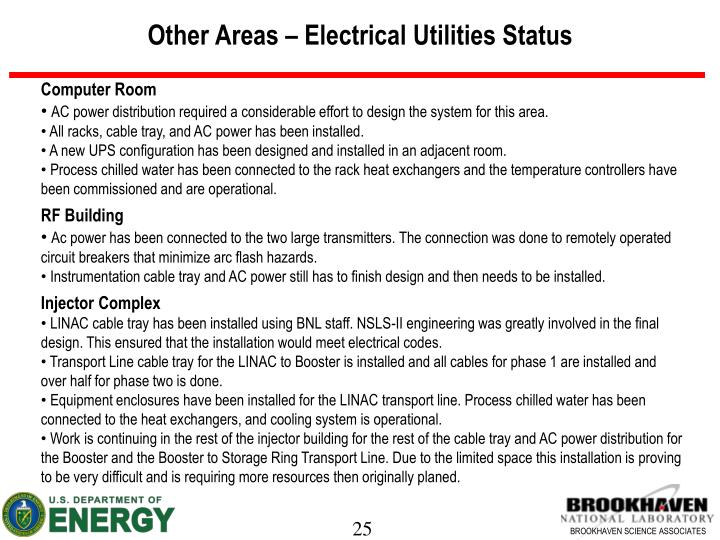 Other Areas – Electrical Utilities Status
