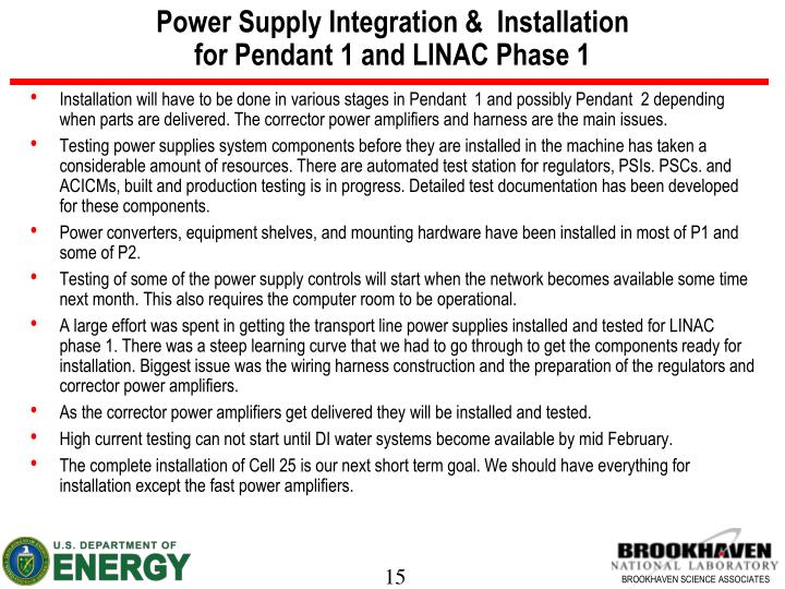 Power Supply Integration &  Installation
