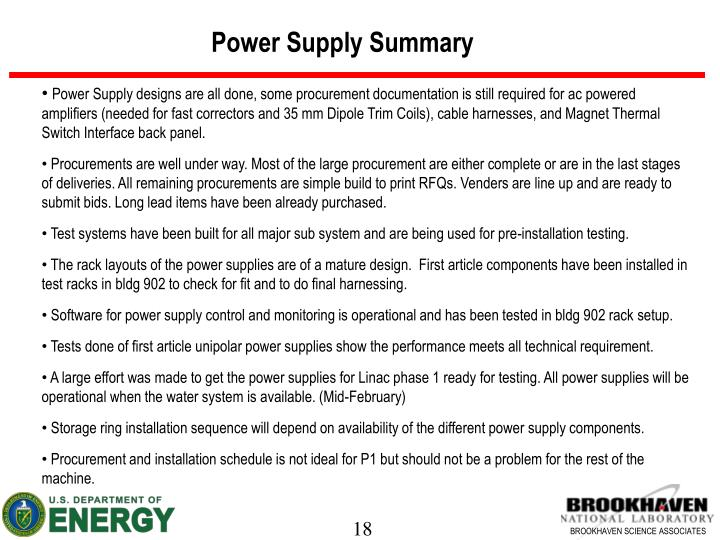 Power Supply Summary