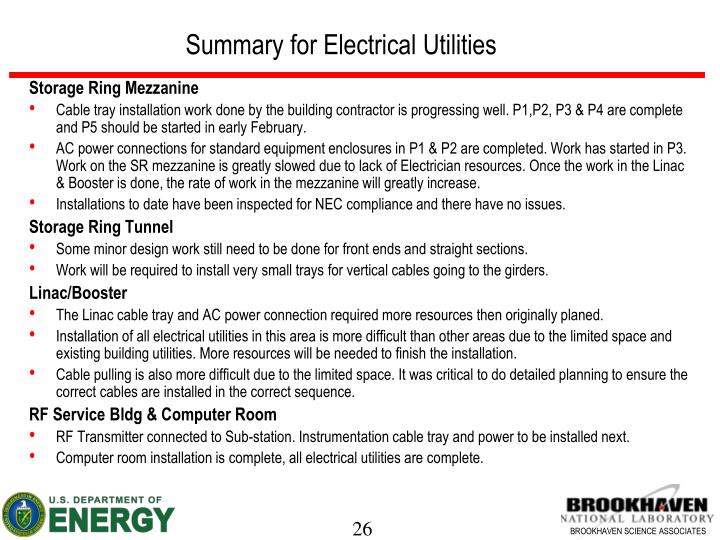 Summary for Electrical Utilities
