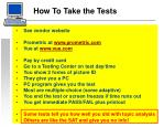 how to take the tests
