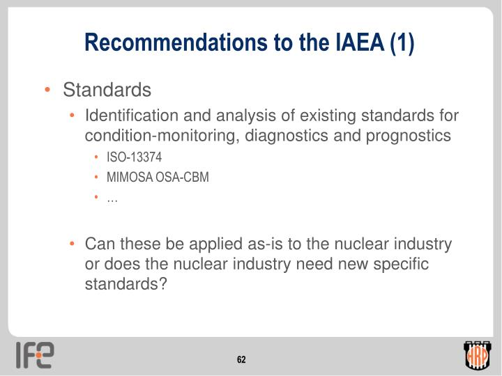 Recommendations to the IAEA (1)