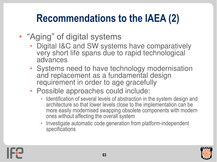 Recommendations to the IAEA (2)