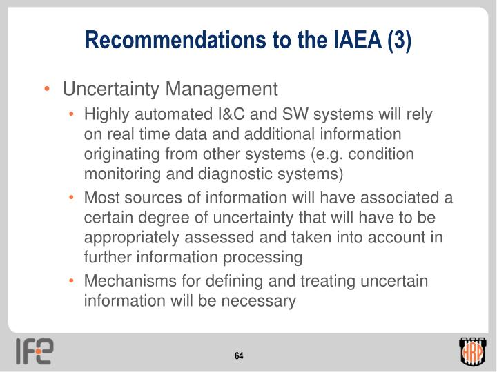 Recommendations to the IAEA (3)