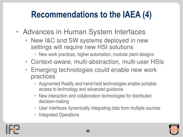 Recommendations to the IAEA (4)