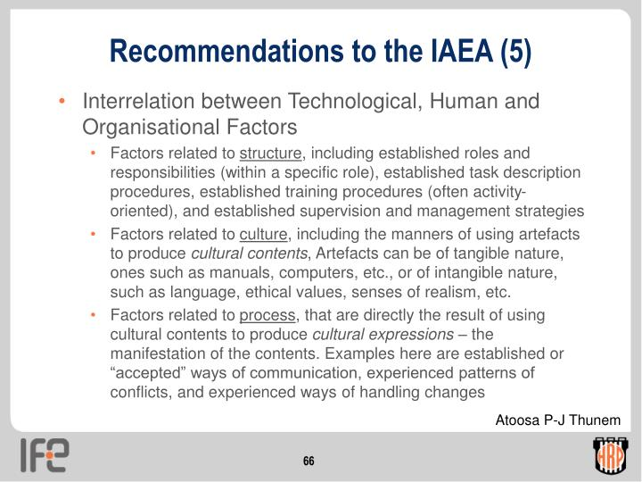 Recommendations to the IAEA (5)