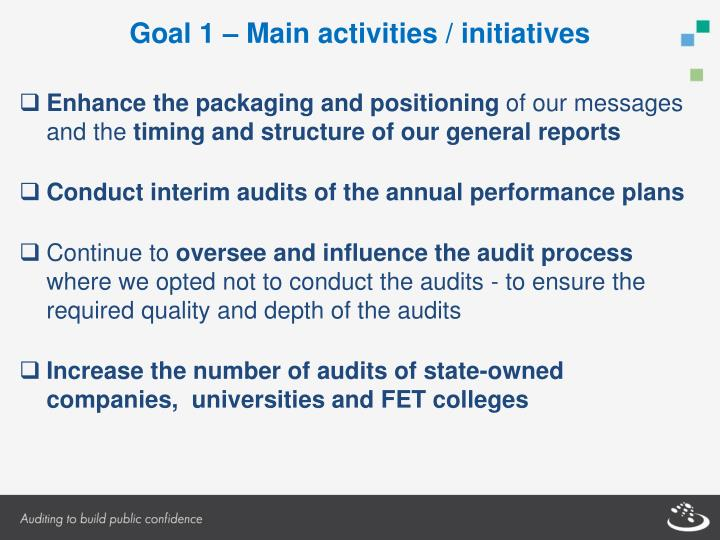 Goal 1 – Main activities / initiatives