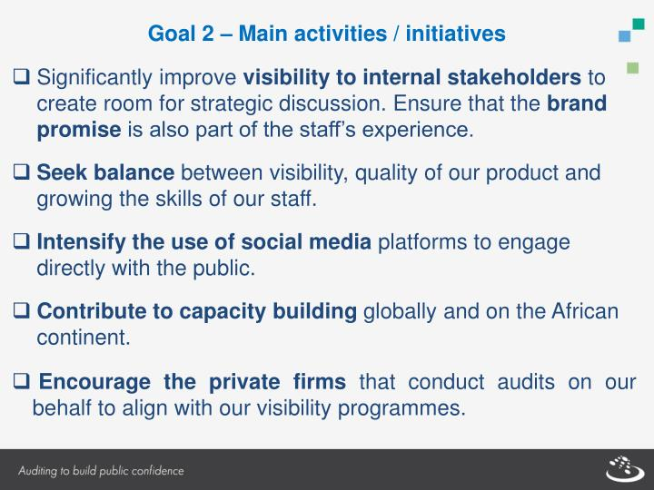 Goal 2 – Main activities / initiatives