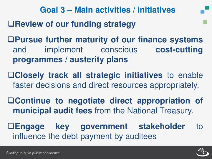 Goal 3 – Main activities / initiatives