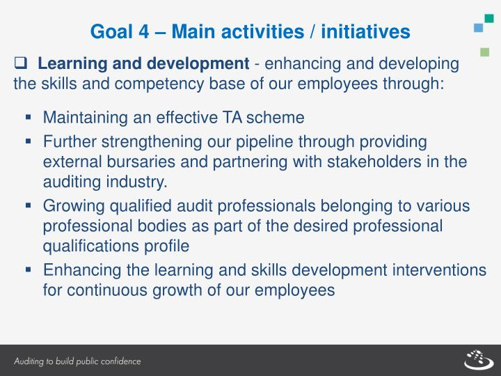 Goal 4 – Main activities / initiatives
