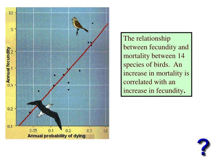 The relationship between fecundity and mortality between 14 species of birds.  An increase in mortality is correlated with an increase in fecundity