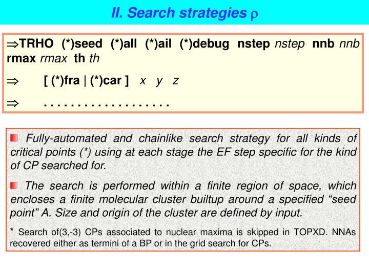 II. Search strategies