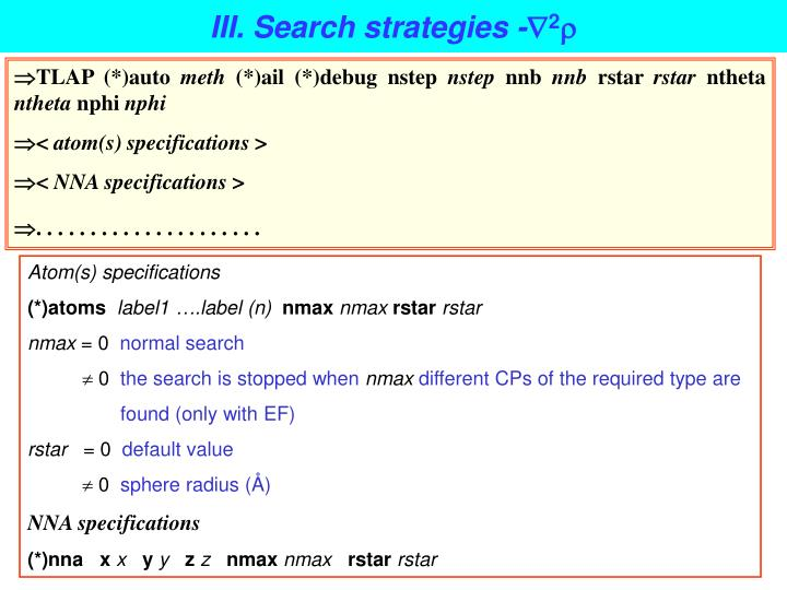 III. Search strategies -