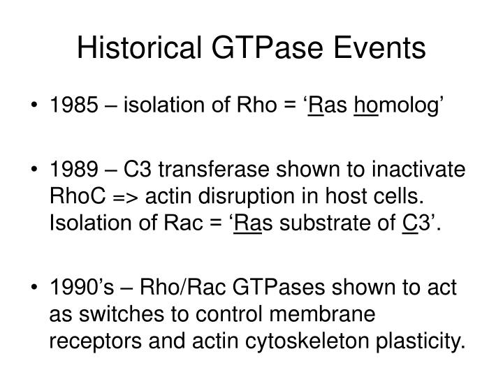 Historical GTPase Events
