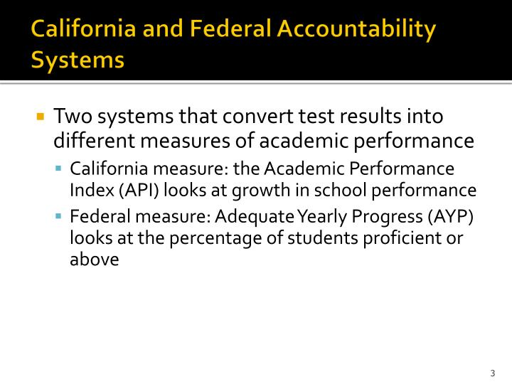 California and federal accountability systems