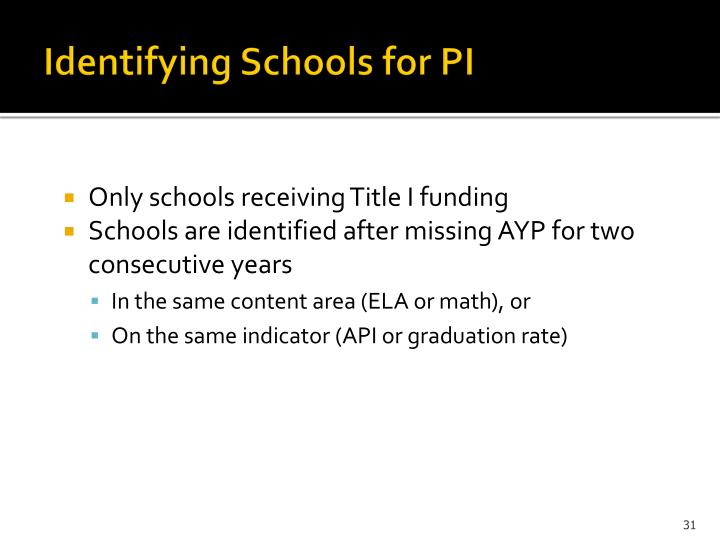 Identifying Schools for PI