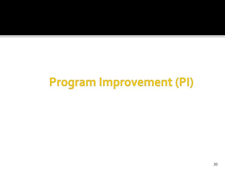 Program Improvement (PI)