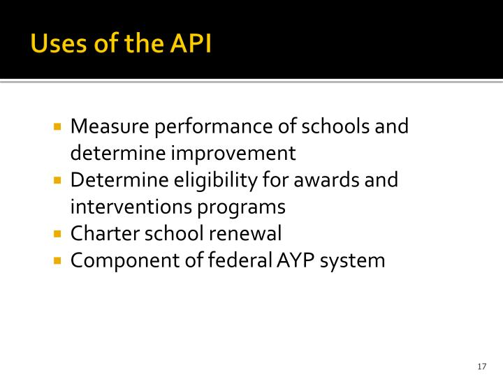 Uses of the API