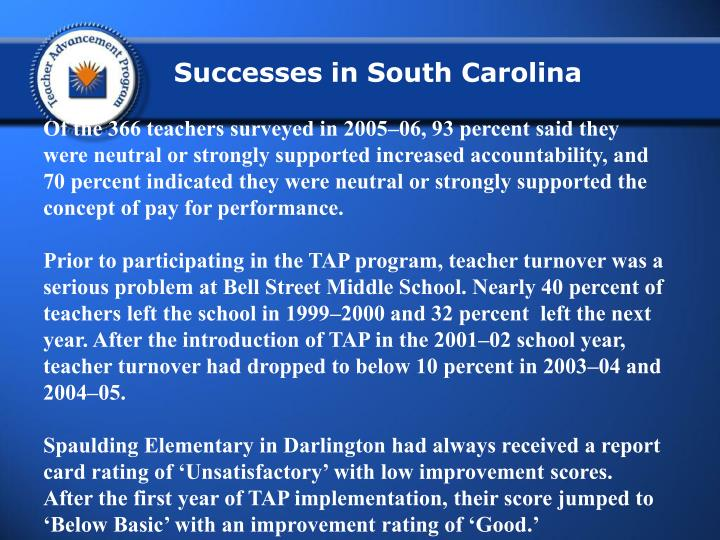 Successes in South Carolina
