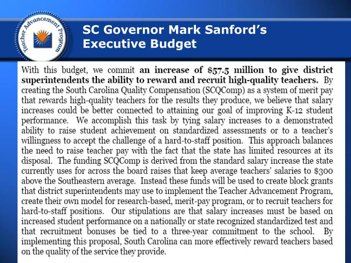 SC Governor Mark Sanford's Executive Budget