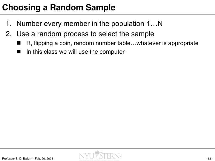 Choosing a Random Sample