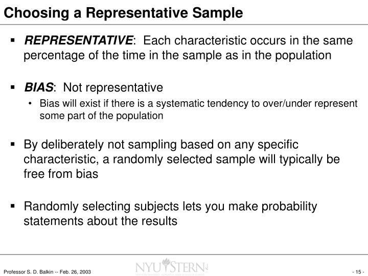 Choosing a Representative Sample
