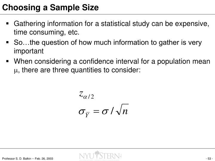Choosing a Sample Size