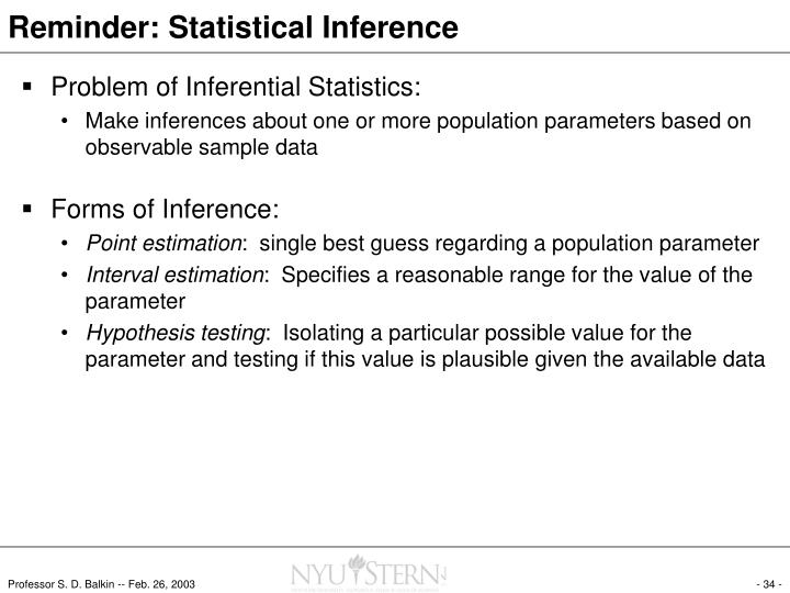 Reminder: Statistical Inference
