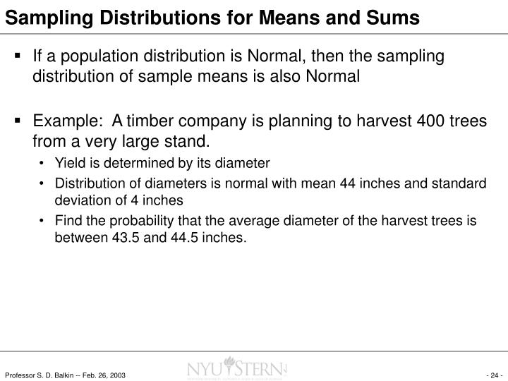 Sampling Distributions for Means and Sums