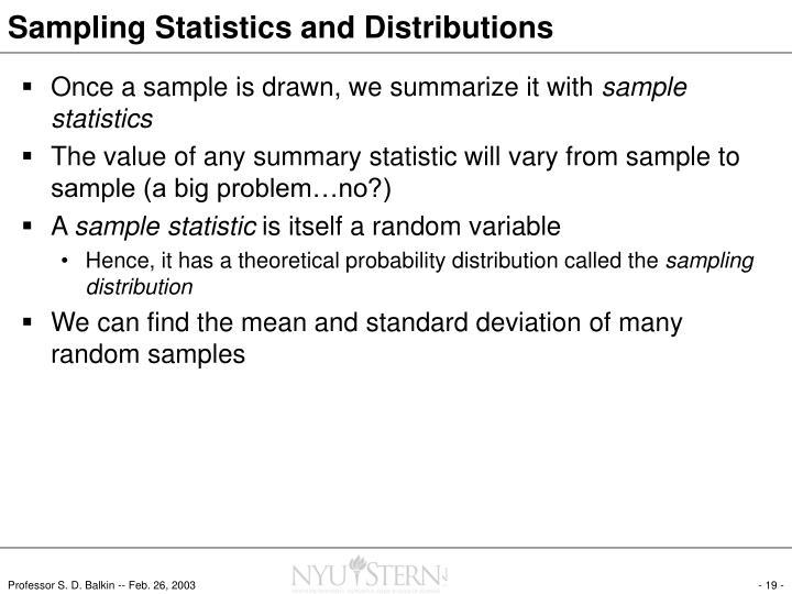 Sampling Statistics and Distributions