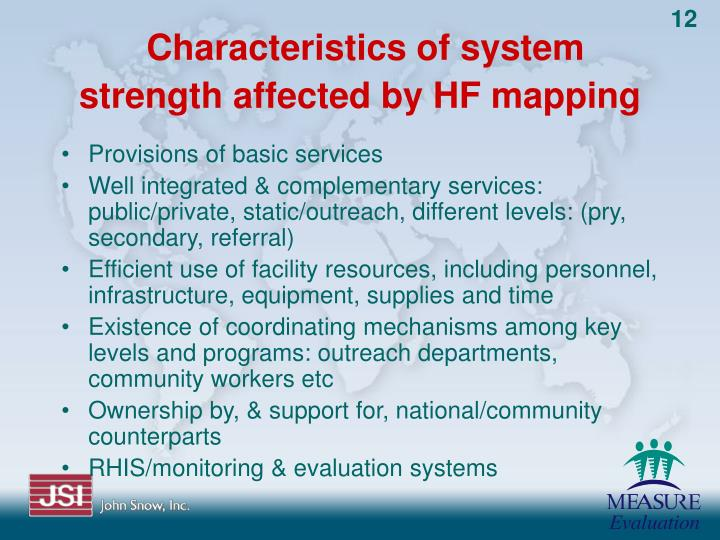Characteristics of system strength affected by HF mapping
