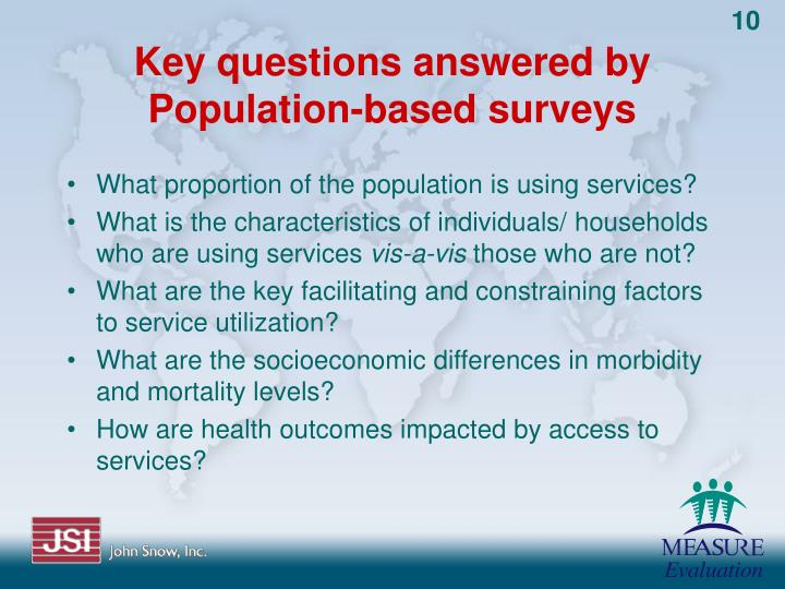 Key questions answered by Population-based surveys