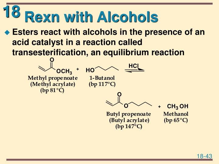 Rexn with Alcohols