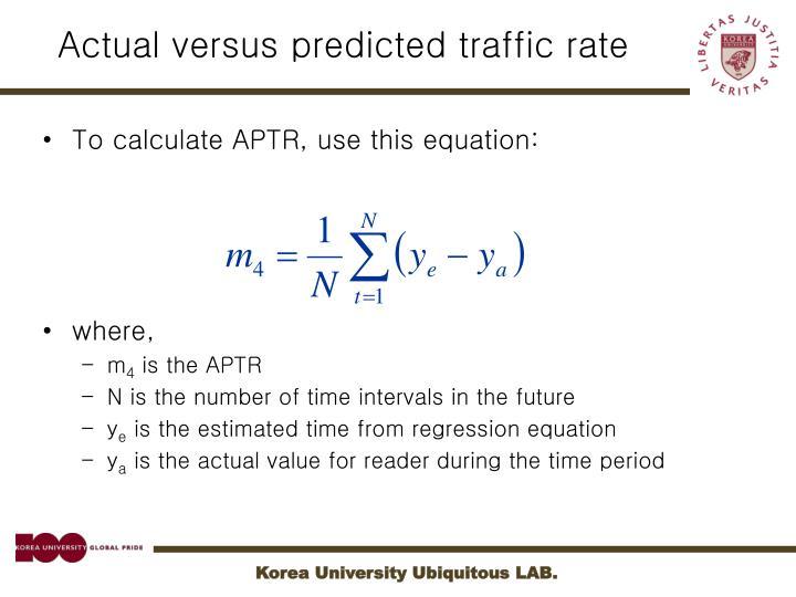 Actual versus predicted traffic rate