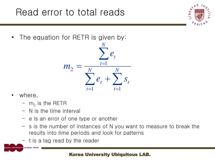 Read error to total reads