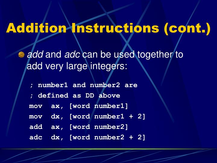 Addition Instructions (cont.)
