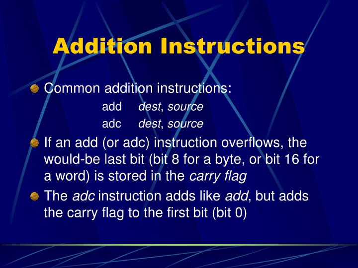 Addition Instructions