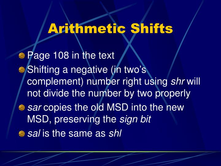 Arithmetic Shifts