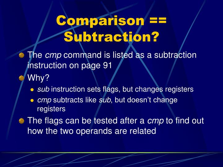Comparison == Subtraction?