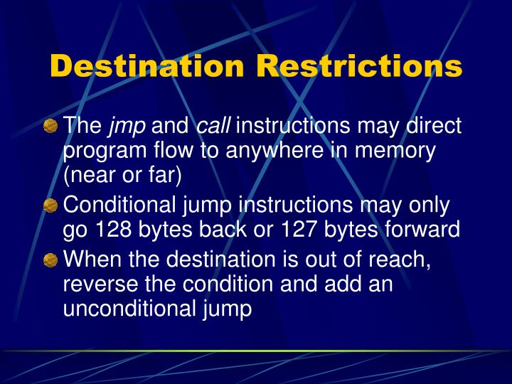 Destination Restrictions