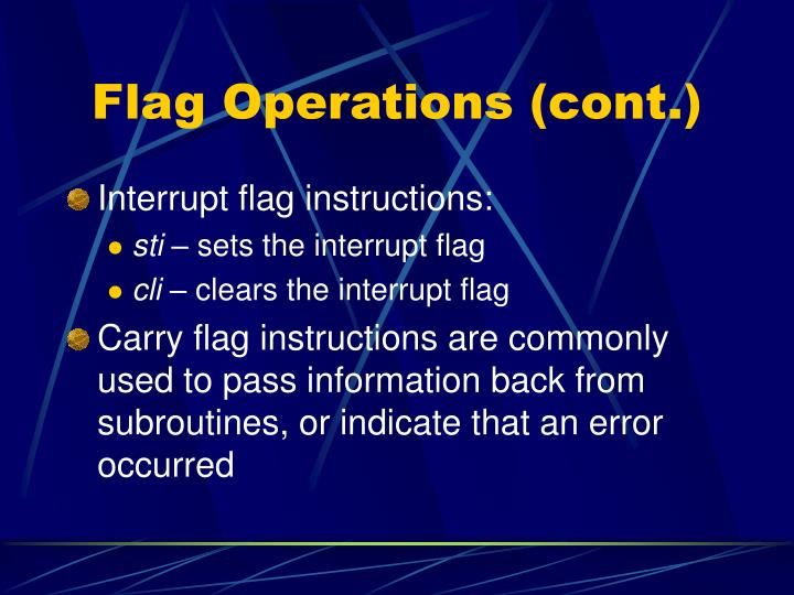 Flag Operations (cont.)
